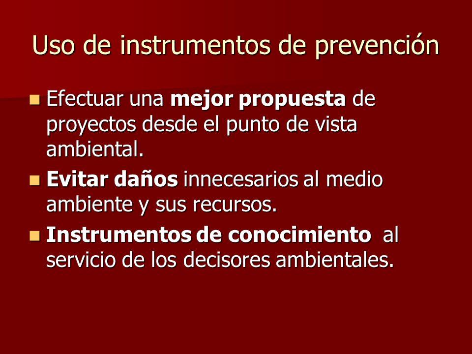 Uso de instrumentos de prevención