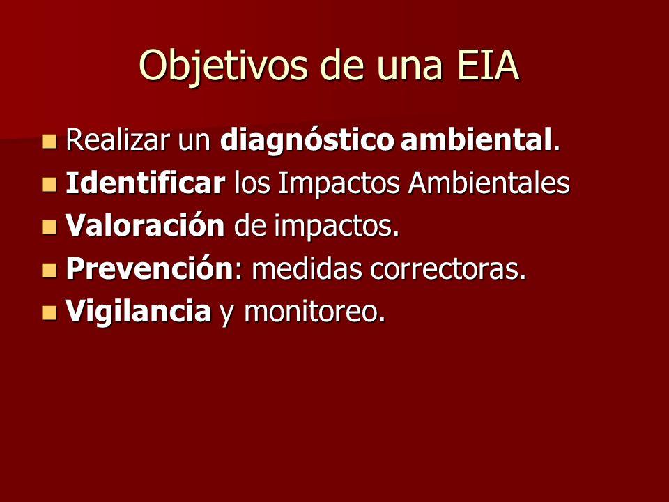 Objetivos de una EIA Realizar un diagnóstico ambiental.