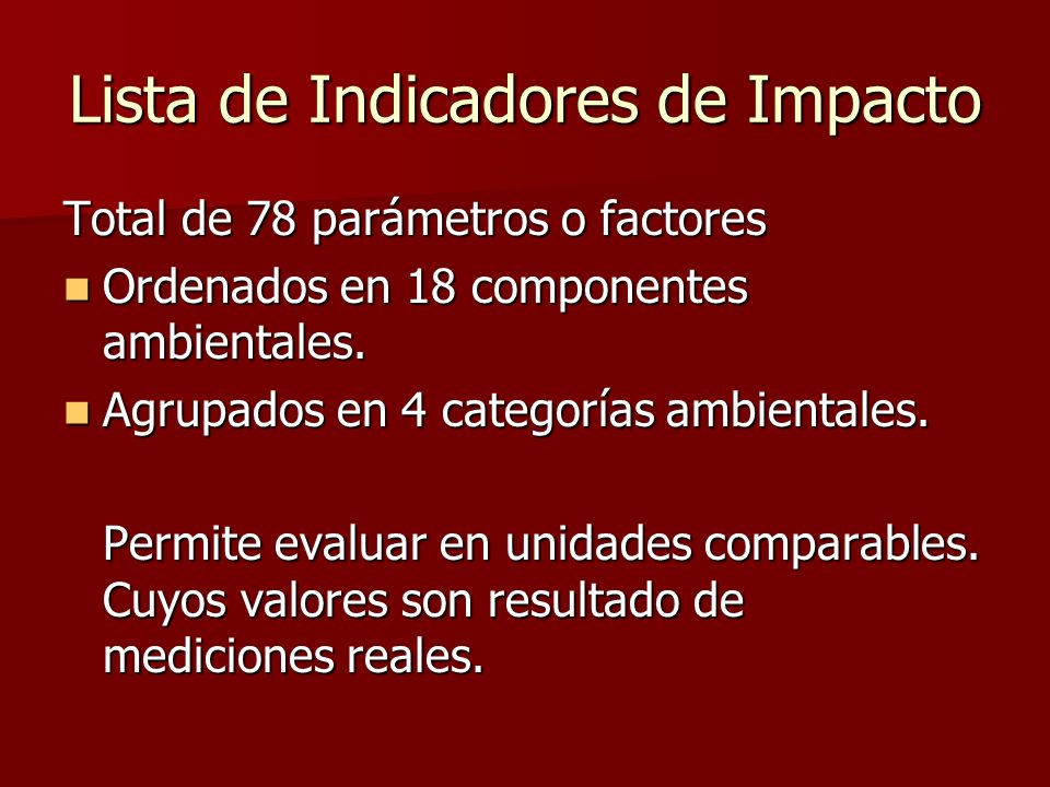 Lista de Indicadores de Impacto