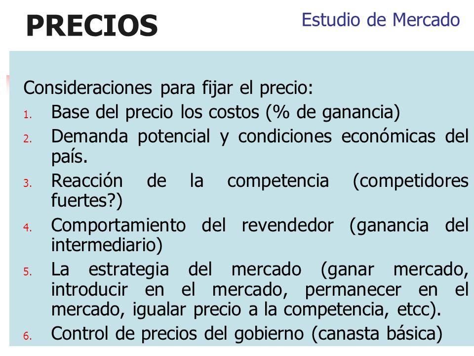 PRECIOS Estudio de Mercado Consideraciones para fijar el precio: