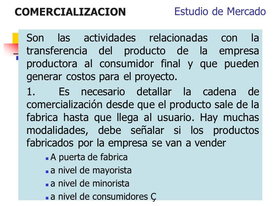 COMERCIALIZACION Estudio de Mercado