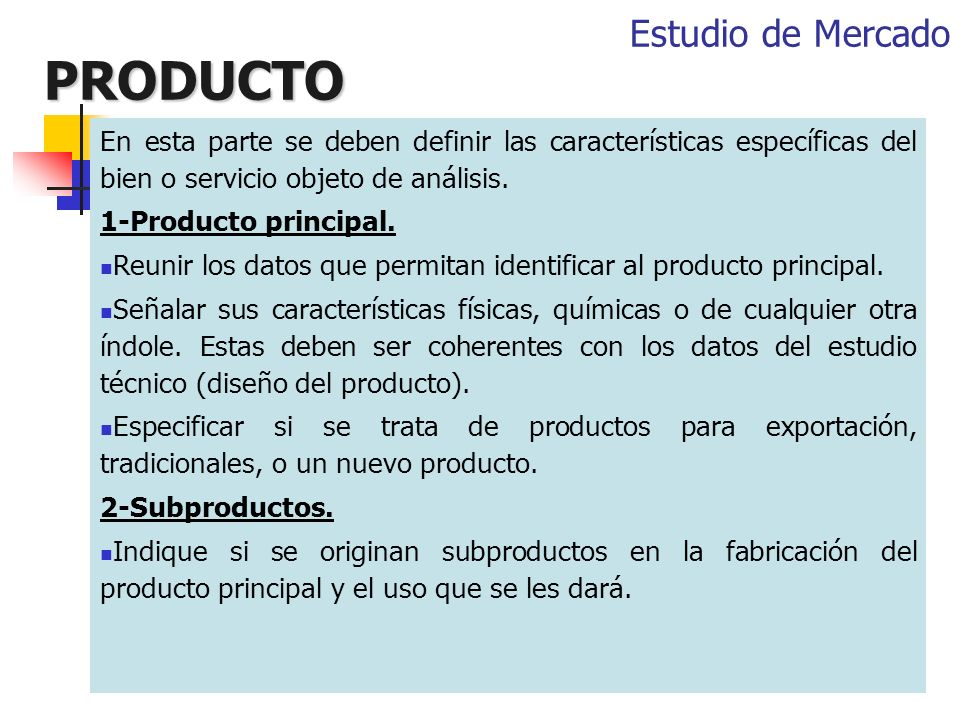 PRODUCTO Estudio de Mercado