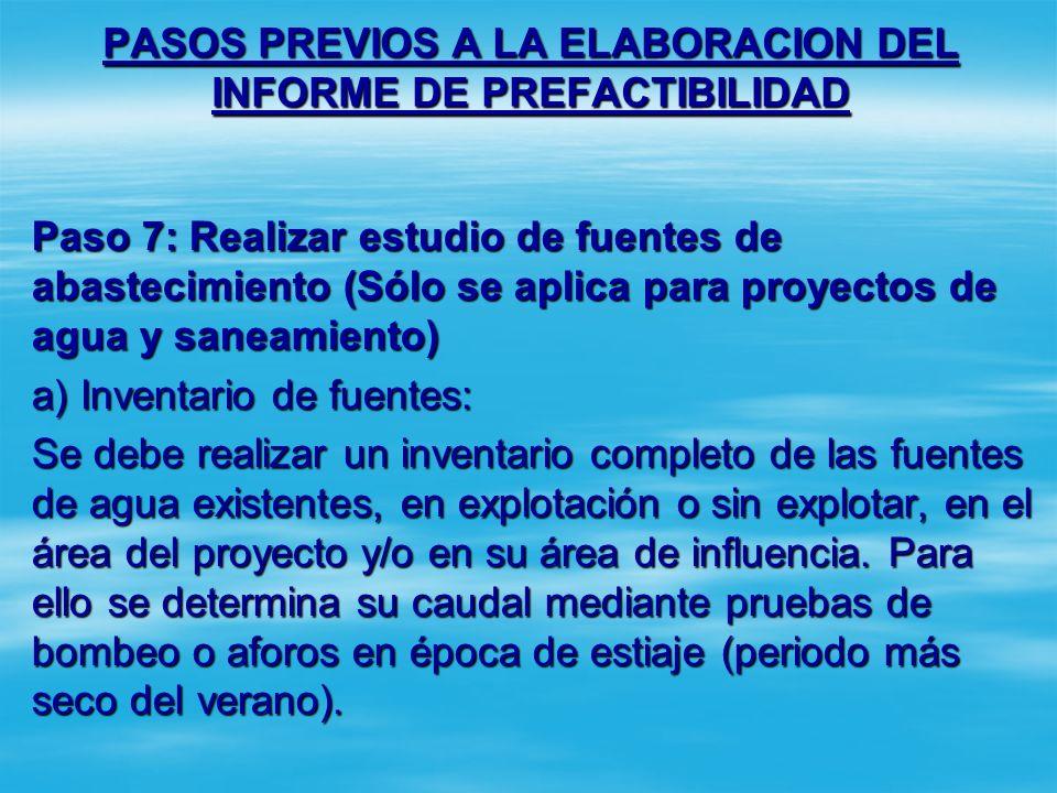 PASOS PREVIOS A LA ELABORACION DEL INFORME DE PREFACTIBILIDAD