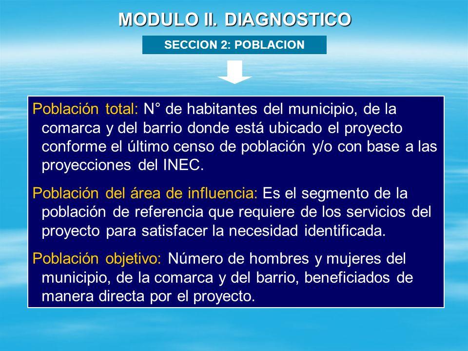 MODULO II. DIAGNOSTICO SECCION 2: POBLACION.