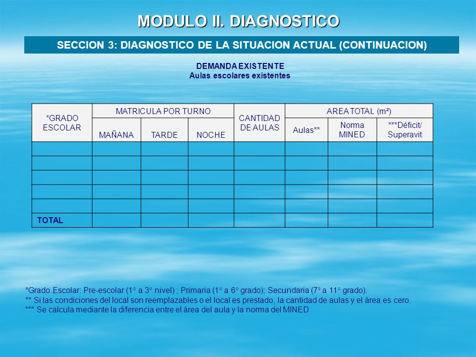 MODULO II. DIAGNOSTICO SECCION 3: DIAGNOSTICO DE LA SITUACION ACTUAL (CONTINUACION) DEMANDA EXISTENTE.