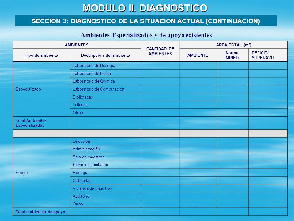 MODULO II. DIAGNOSTICO SECCION 3: DIAGNOSTICO DE LA SITUACION ACTUAL (CONTINUACION) Ambientes Especializados y de apoyo existentes.