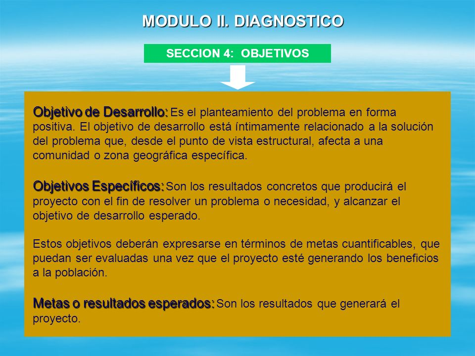 MODULO II. DIAGNOSTICO SECCION 4: OBJETIVOS.