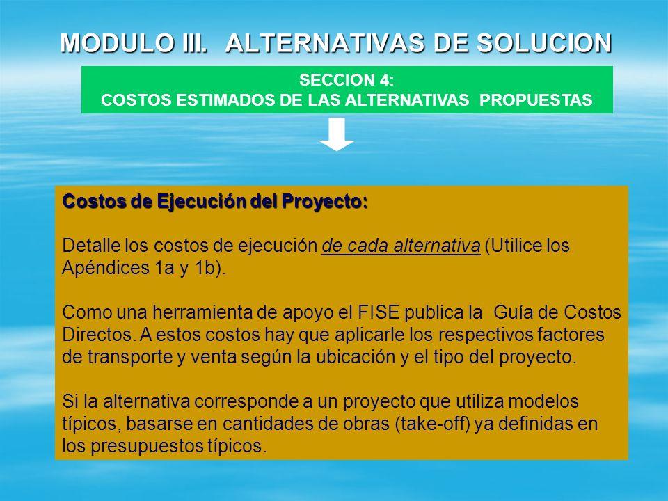 MODULO III. ALTERNATIVAS DE SOLUCION