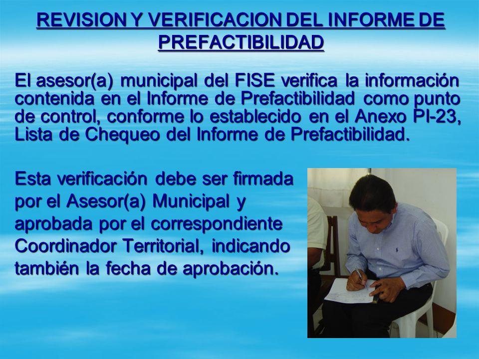 REVISION Y VERIFICACION DEL INFORME DE PREFACTIBILIDAD