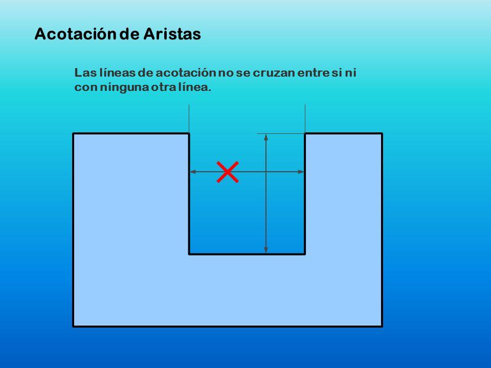 Acotación de AristasLas líneas de acotación no se cruzan entre si ni con ninguna otra línea.