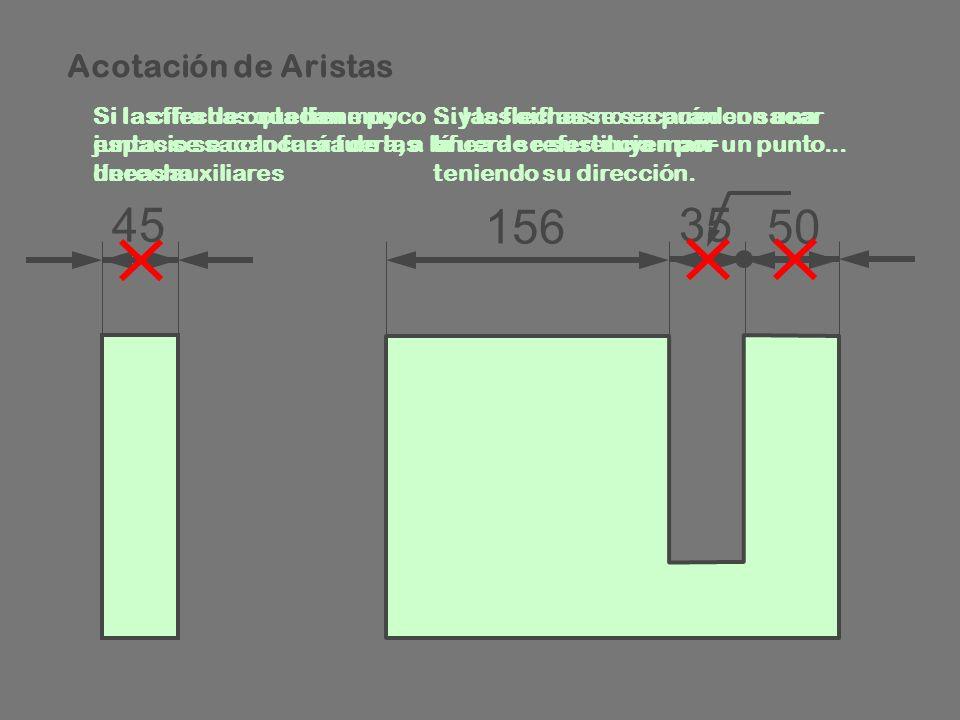 Acotación de Aristas Si la cifra de cota tiene poco espacio se colocará fuera, a la derecha.