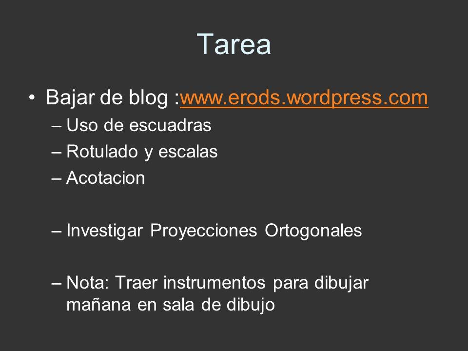 Tarea Bajar de blog :www.erods.wordpress.com Uso de escuadras