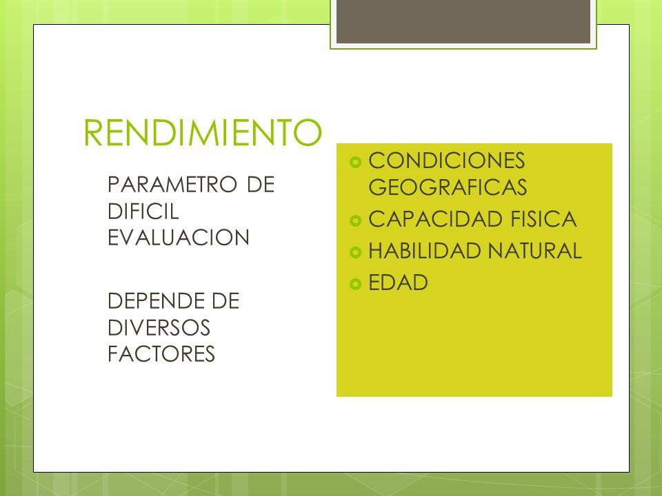 RENDIMIENTO CONDICIONES GEOGRAFICAS