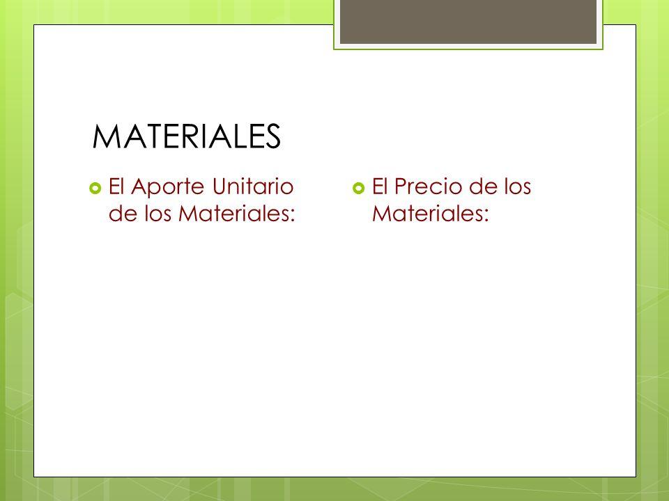 MATERIALES El Aporte Unitario de los Materiales: