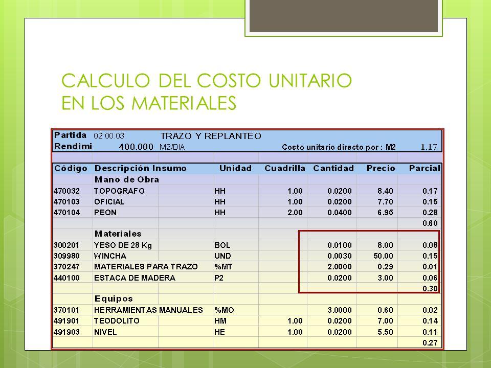 CALCULO DEL COSTO UNITARIO EN LOS MATERIALES