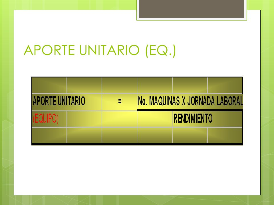 APORTE UNITARIO (EQ.)