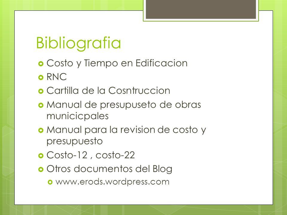 Bibliografia Costo y Tiempo en Edificacion RNC