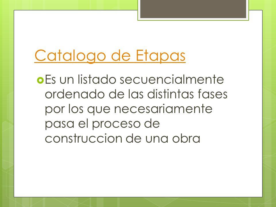 Catalogo de Etapas