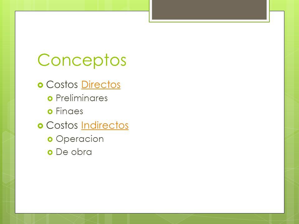 Conceptos Costos Directos Costos Indirectos Preliminares Finaes