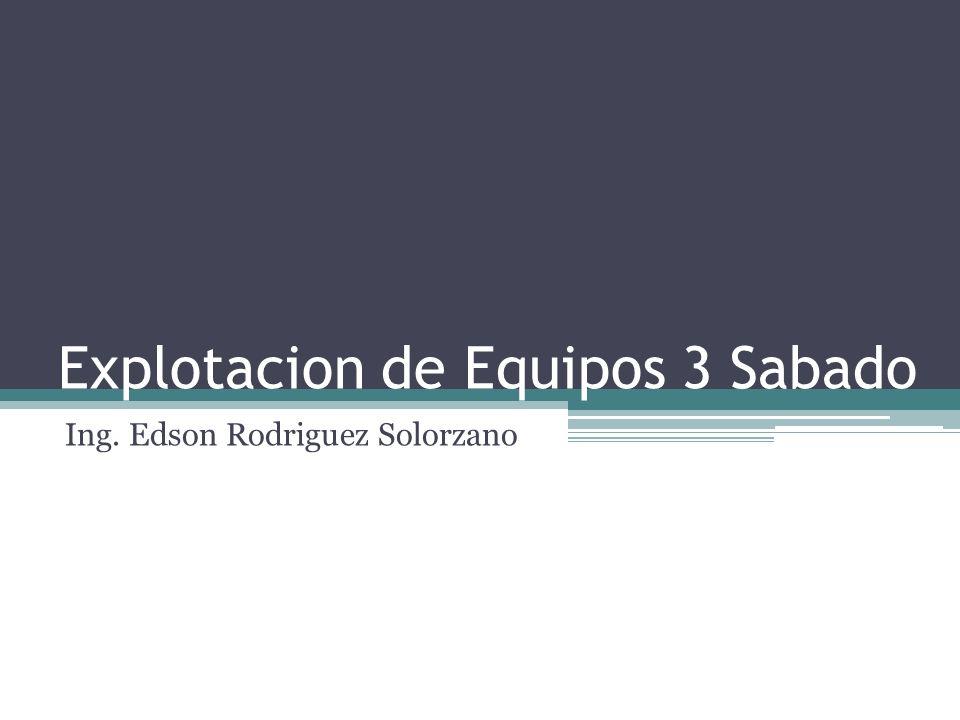 Explotacion de Equipos 3 Sabado