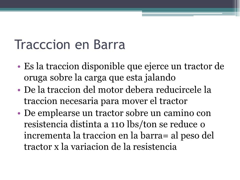Tracccion en Barra Es la traccion disponible que ejerce un tractor de oruga sobre la carga que esta jalando.