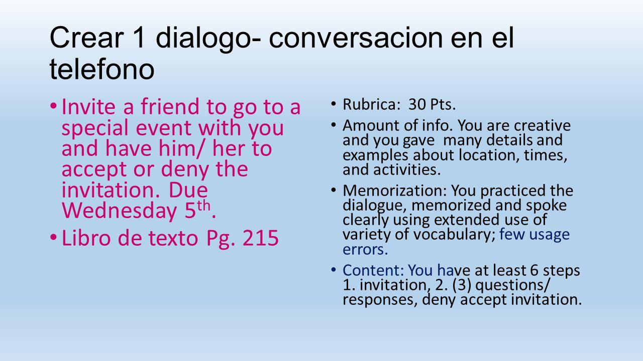 Crear 1 dialogo- conversacion en el telefono