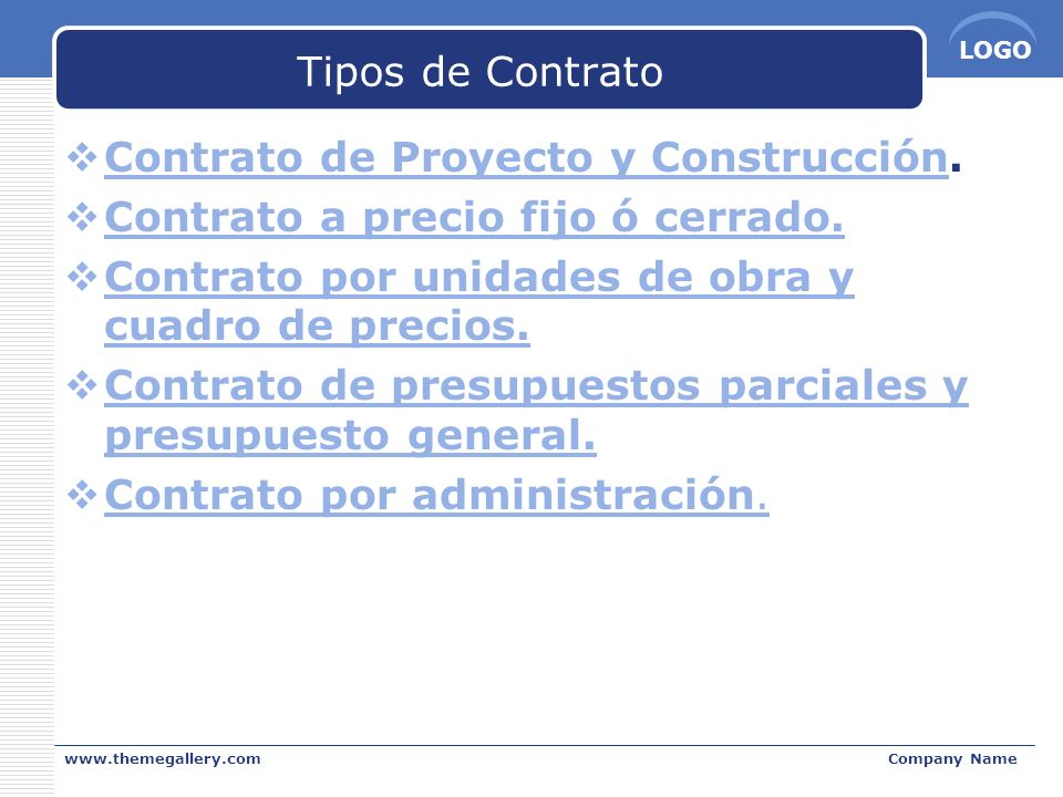 Contrato de Proyecto y Construcción. Contrato a precio fijo ó cerrado.