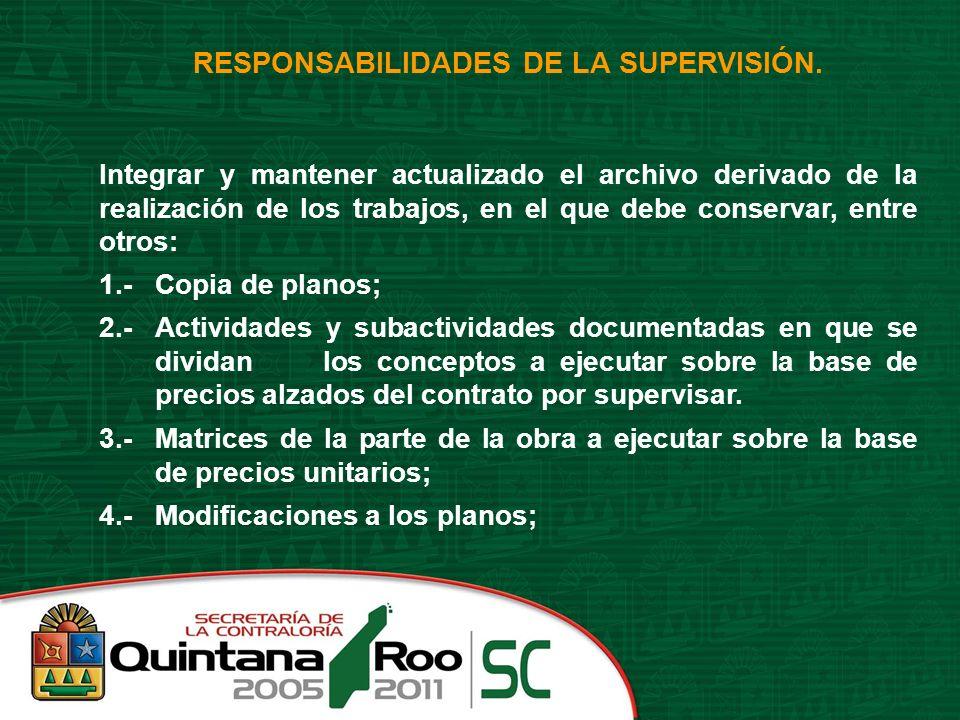 RESPONSABILIDADES DE LA SUPERVISIÓN.