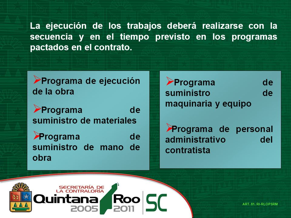 Programa de ejecución de la obra