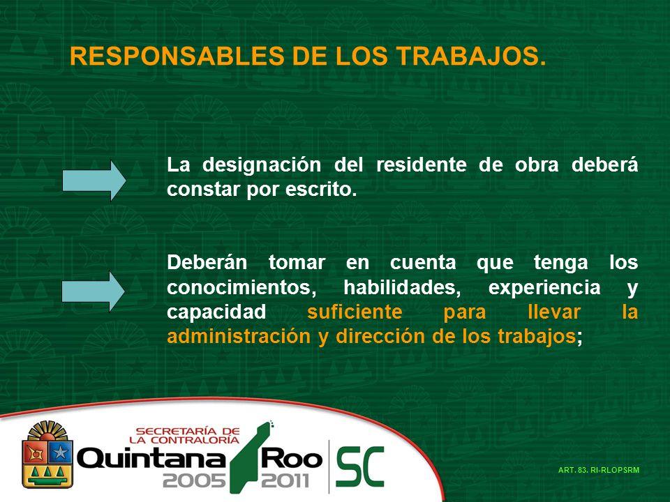 RESPONSABLES DE LOS TRABAJOS.