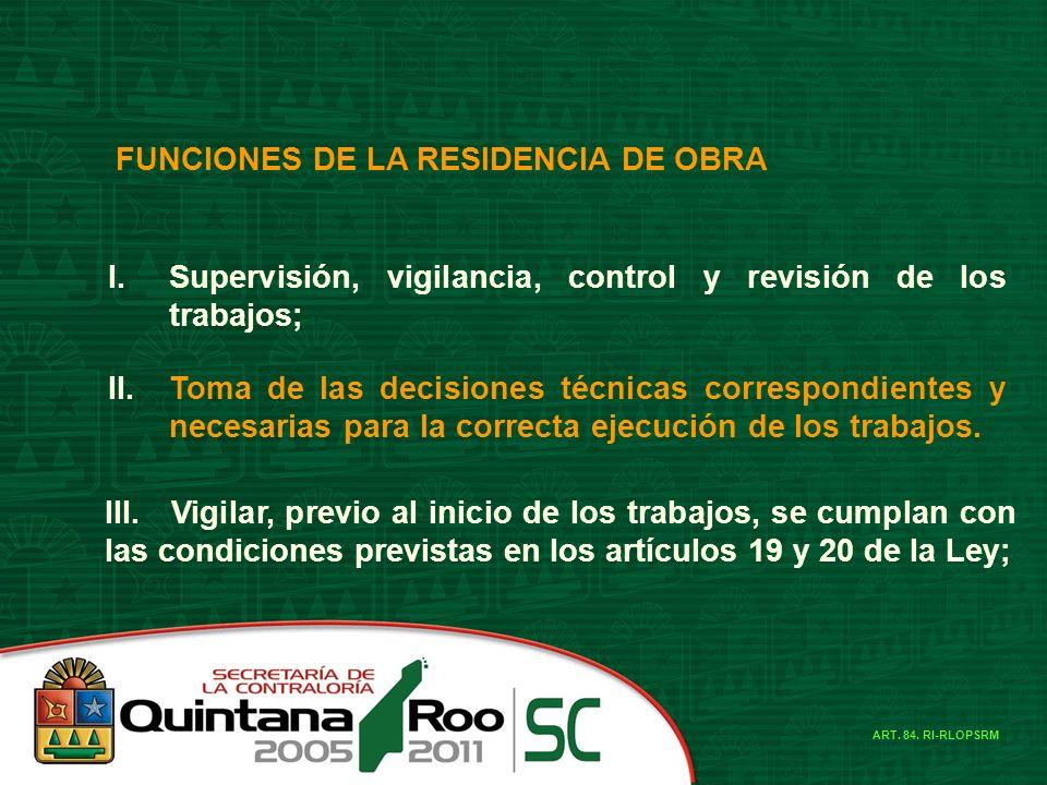 FUNCIONES DE LA RESIDENCIA DE OBRA I.