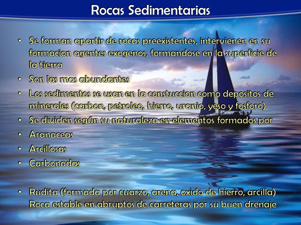 Rocas Sedimentarias Se forman apartir de rocas preexistentes, intervienen en su formacion agentes exogenos, formandose en la superficie de la tierra.