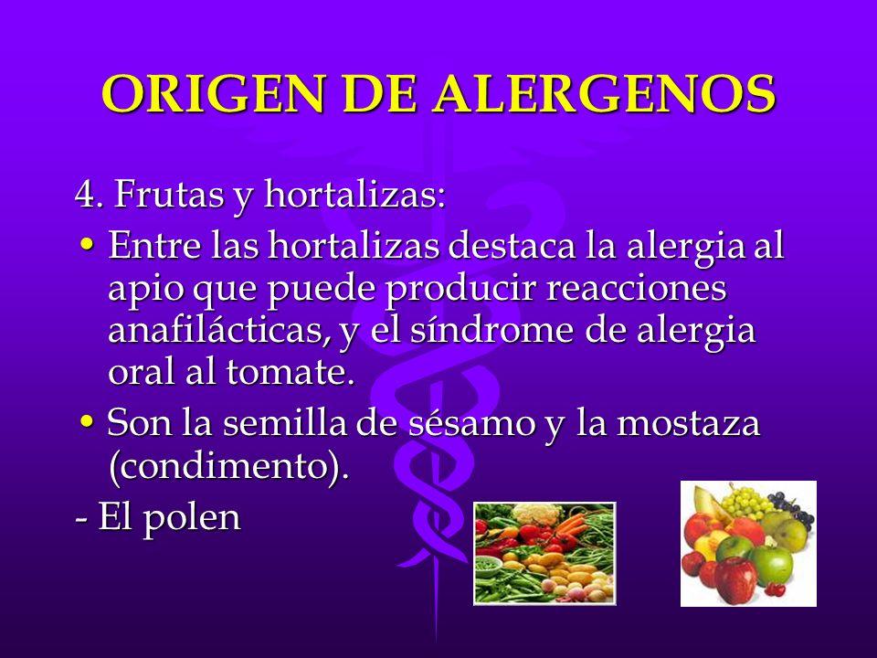 ORIGEN DE ALERGENOS 4. Frutas y hortalizas: