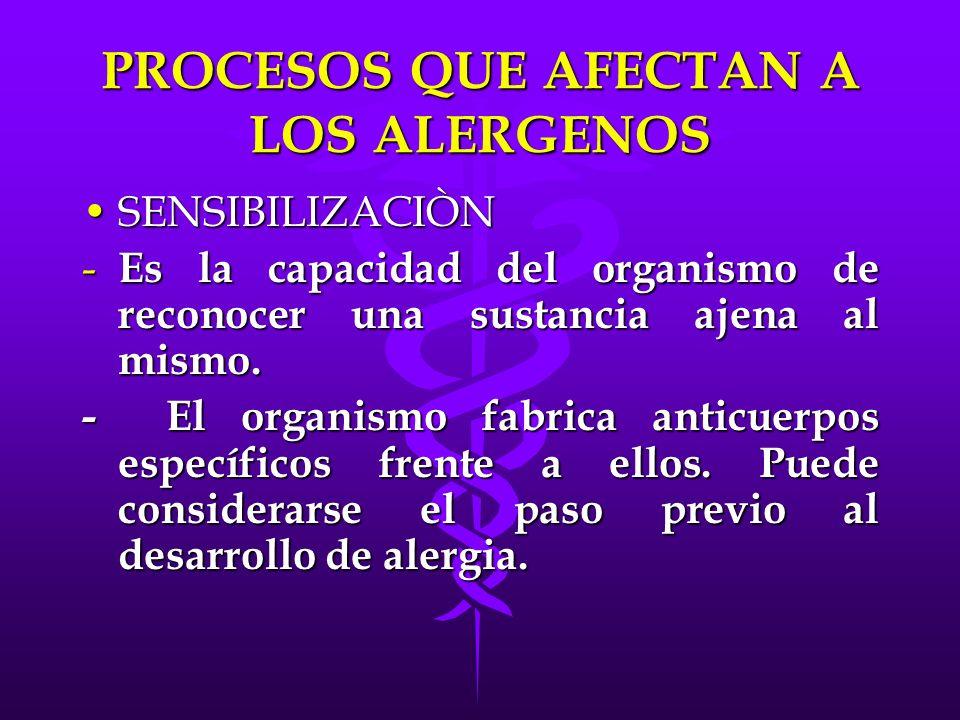 PROCESOS QUE AFECTAN A LOS ALERGENOS