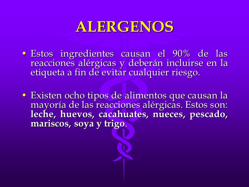 ALERGENOS Estos ingredientes causan el 90% de las reacciones alérgicas y deberán incluirse en la etiqueta a fin de evitar cualquier riesgo.