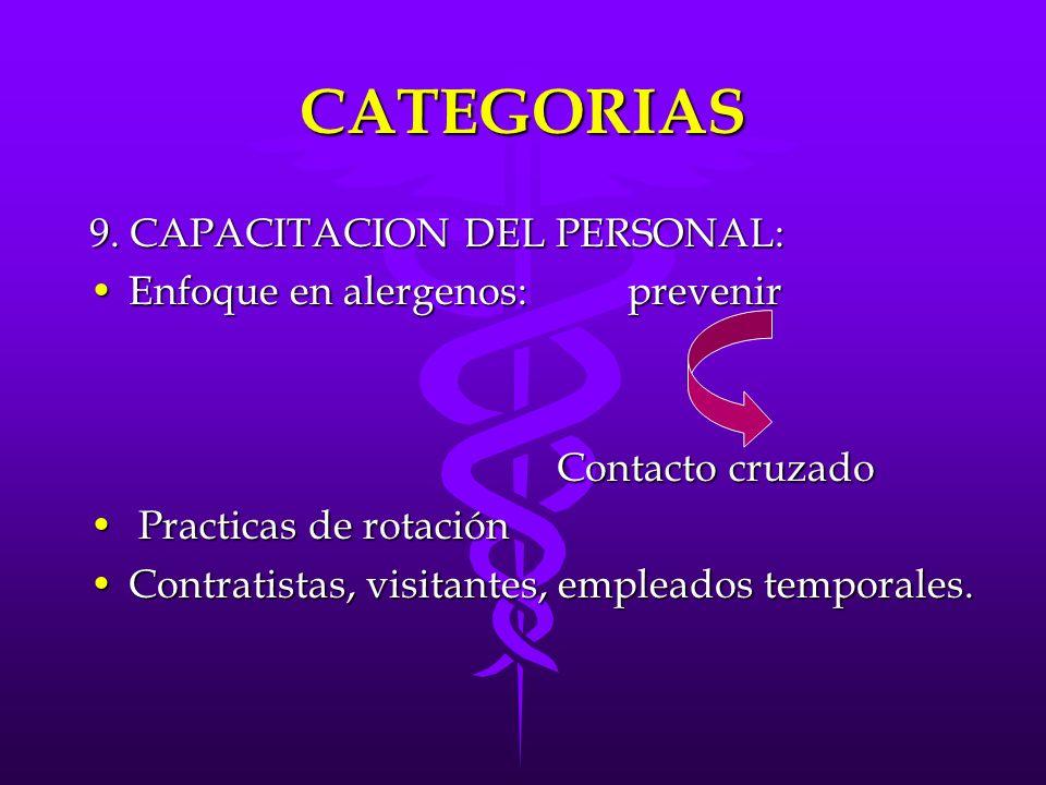 CATEGORIAS 9. CAPACITACION DEL PERSONAL: