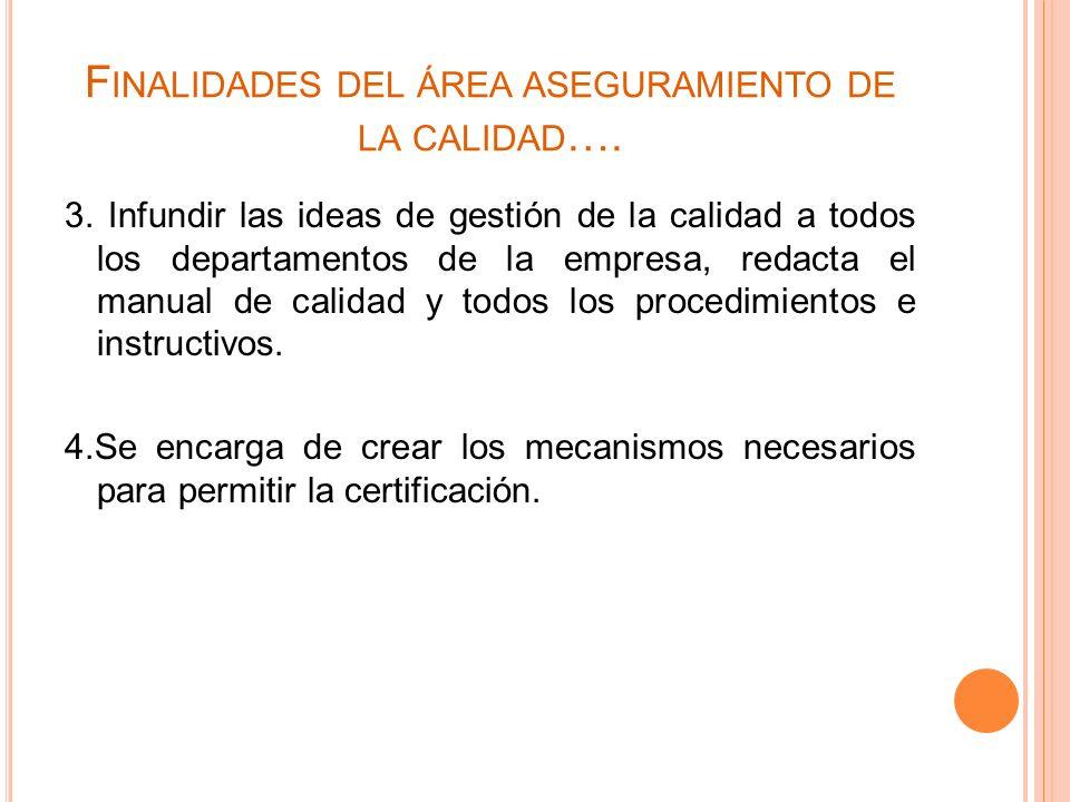 Finalidades del área aseguramiento de la calidad….