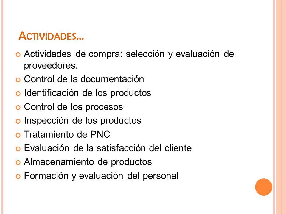 Actividades… Actividades de compra: selección y evaluación de proveedores. Control de la documentación.