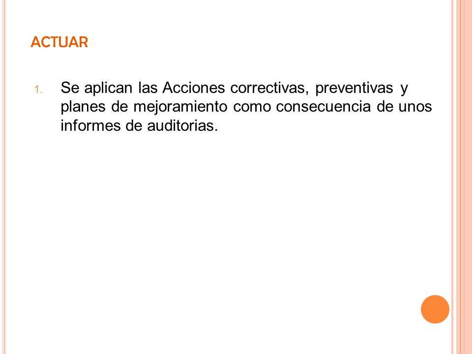 ACTUAR Se aplican las Acciones correctivas, preventivas y planes de mejoramiento como consecuencia de unos informes de auditorias.