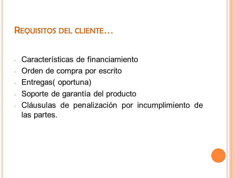 Requisitos del cliente…