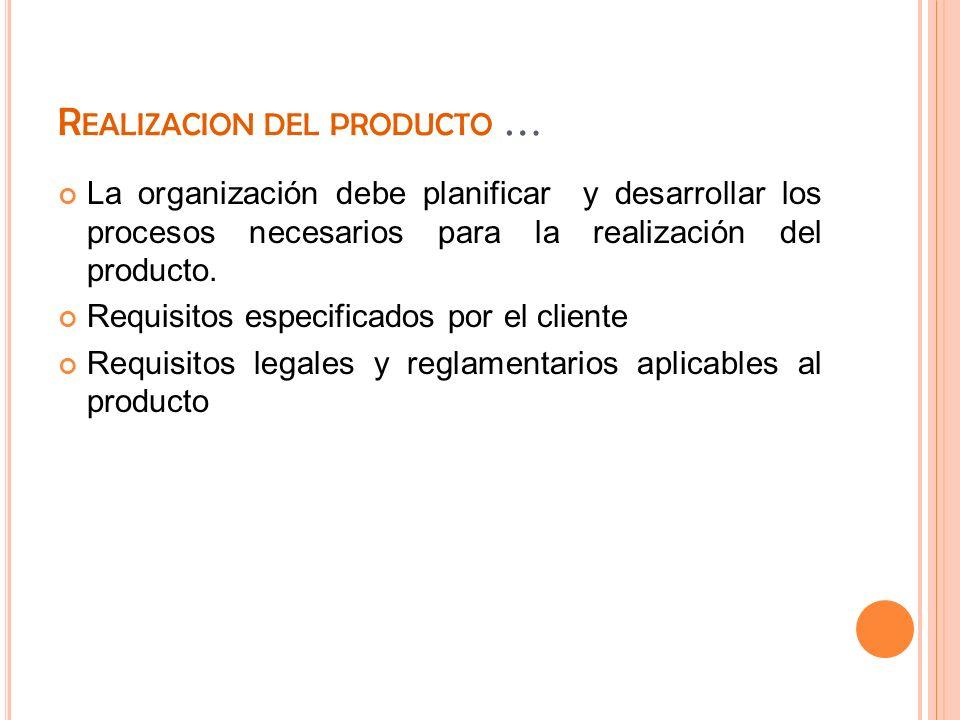 Realizacion del producto …