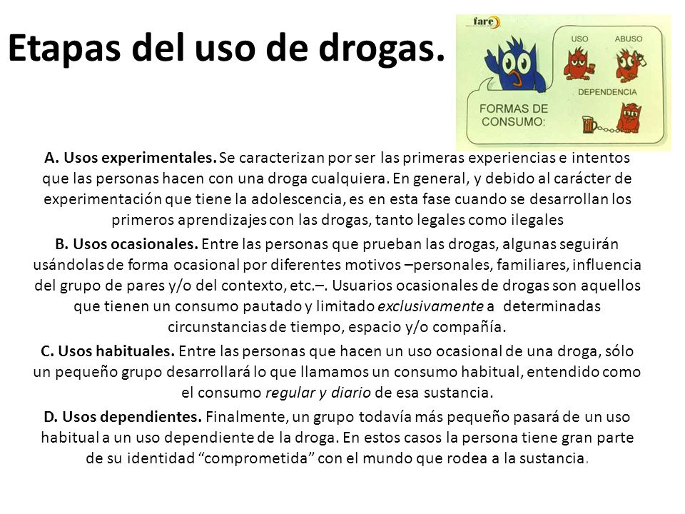 Etapas del uso de drogas.