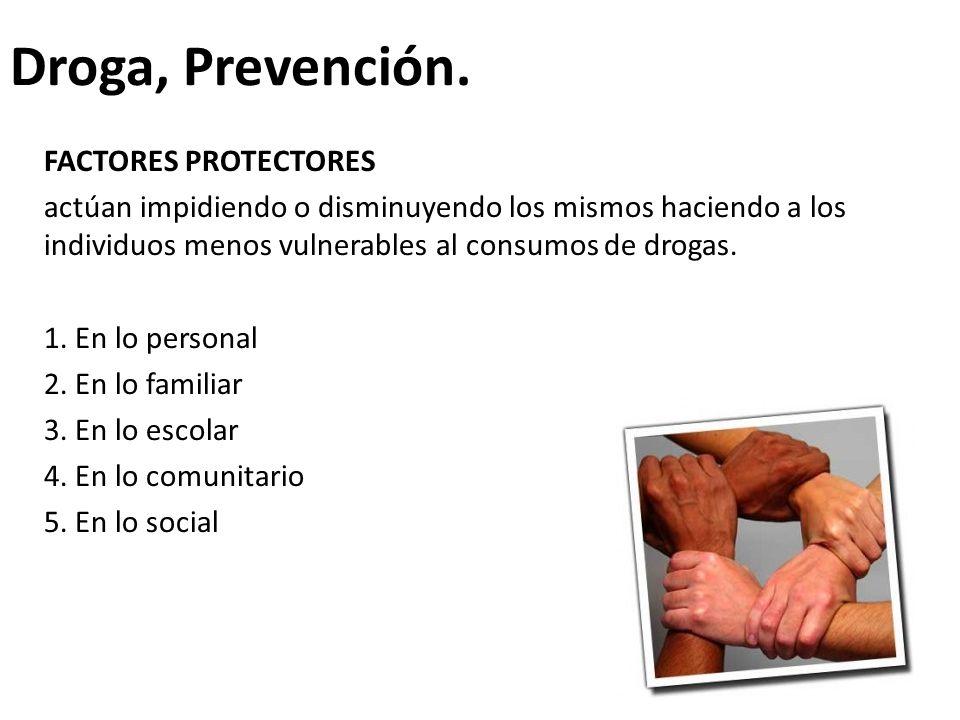 Droga, Prevención. FACTORES PROTECTORES