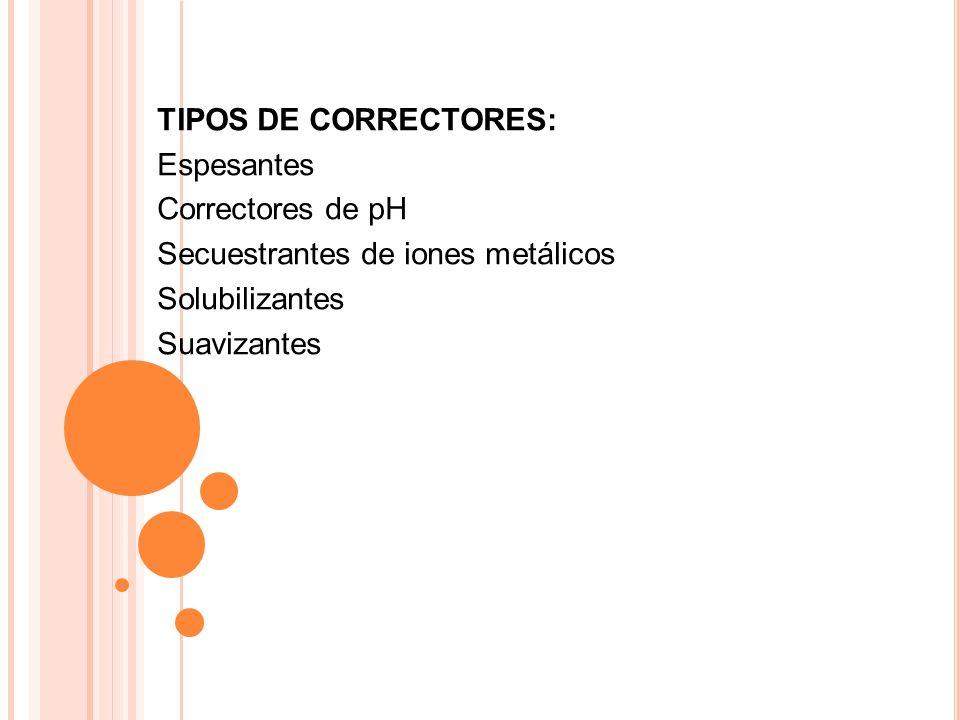 TIPOS DE CORRECTORES:Espesantes. Correctores de pH. Secuestrantes de iones metálicos. Solubilizantes.