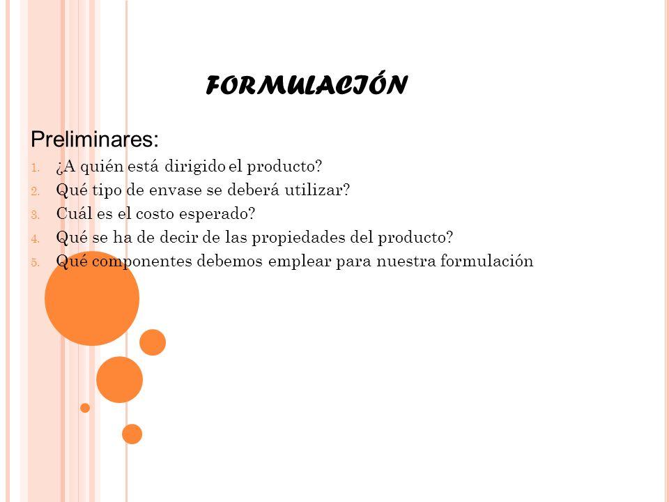 FORMULACIÓN Preliminares: ¿A quién está dirigido el producto