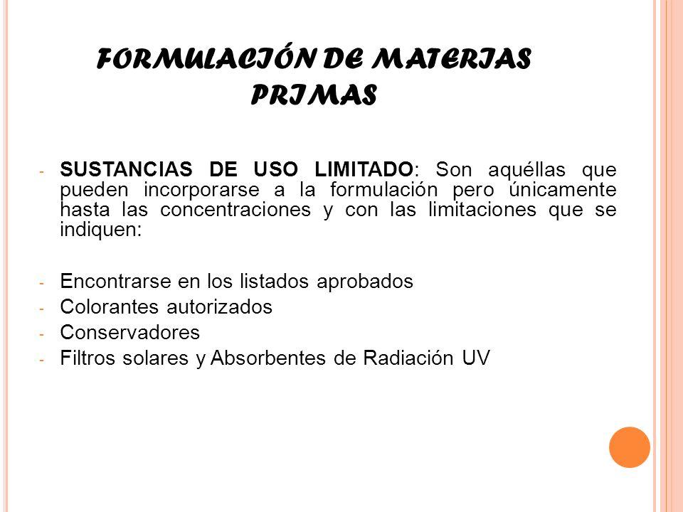 FORMULACIÓN DE MATERIAS PRIMAS