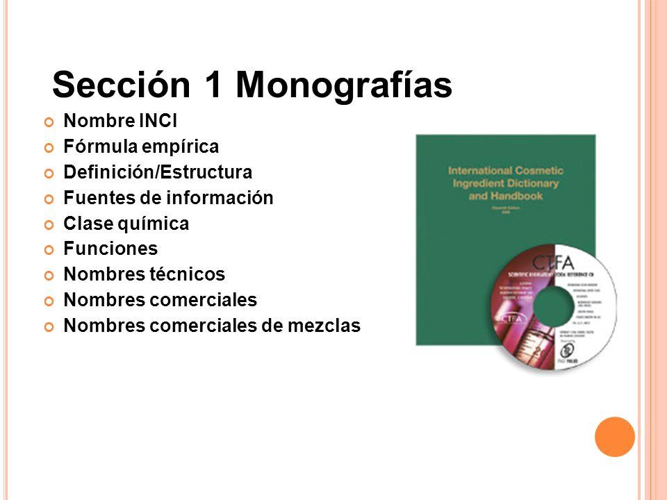 Sección 1 Monografías Nombre INCI Fórmula empírica