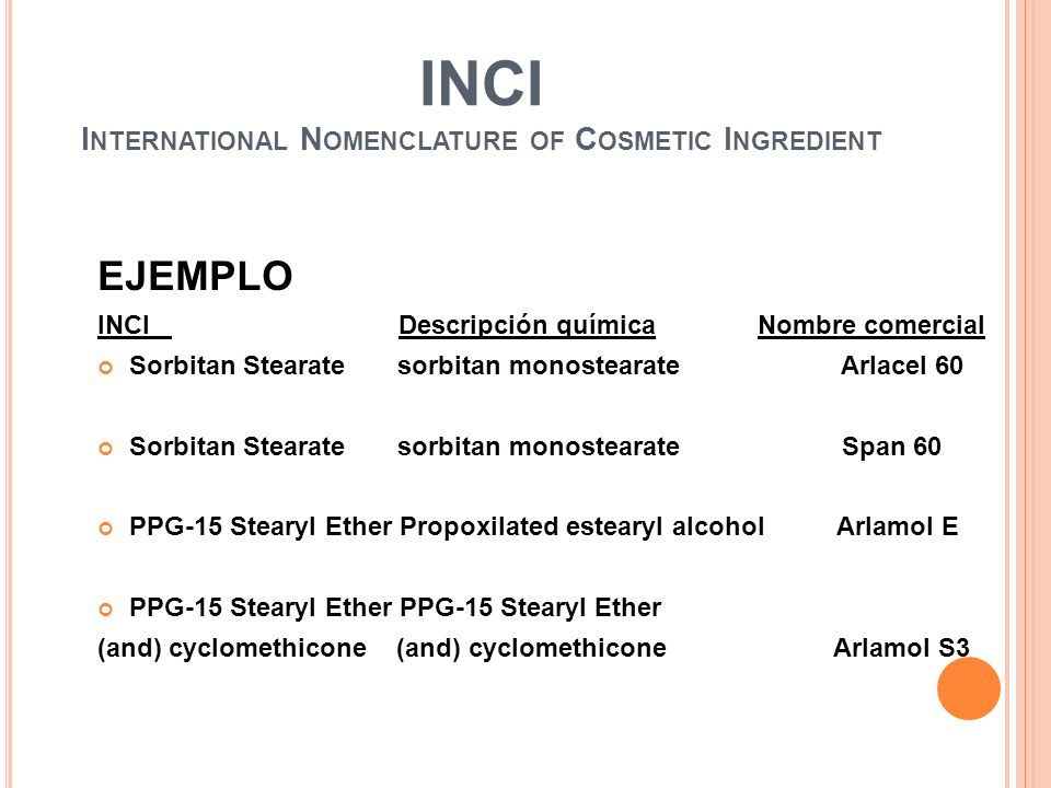 INCI International Nomenclature of Cosmetic Ingredient