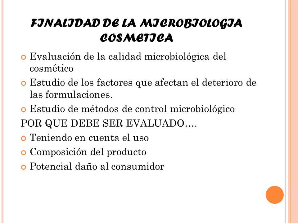 FINALIDAD DE LA MICROBIOLOGIA COSMETICA