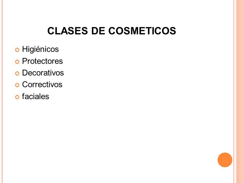 CLASES DE COSMETICOS Higiénicos Protectores Decorativos Correctivos